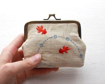 Japanese Koi Fish Coin Purse/Pouch (Natural Beige)