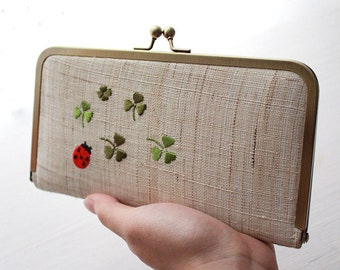 Embroidered Ladybug Clover and Canary kisslock Wallet, Natural Beige Linen