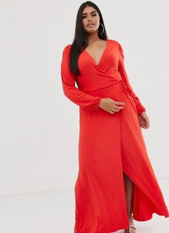 Red wrap maxi dress with puff sleeve