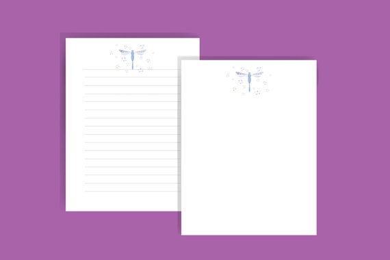 Printable Stationary Dragonfly Stationary Set Printable Letter Paper  Instant Download Dragonfly Stationary set Lined and Blank