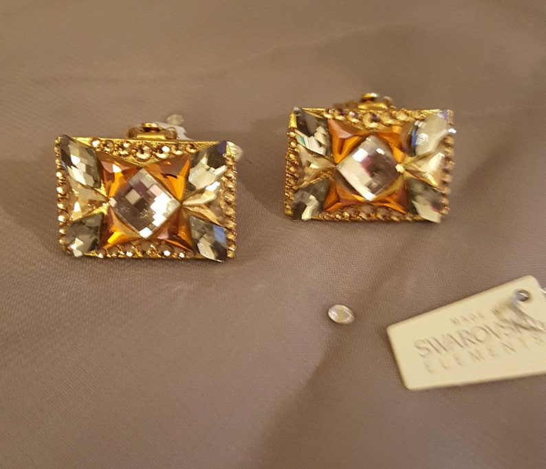 257844999 Swarovski Glamour earrings by Jimmy Crystal Exotic gold | Etsy