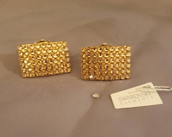 Swarovski Glamour earrings by Laura gold clips