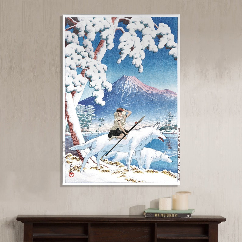 Princess Mononoke San Studio Ghibli and Mt Fuji after snow image 0