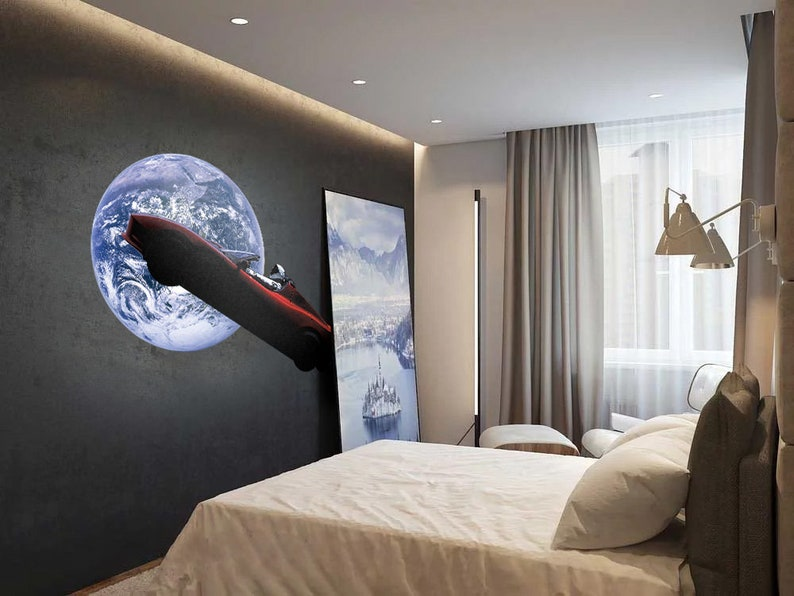 Tesla Starman SpaceX Falcon heavy launch large wall decal sticker made from Peel and Stick Removable Wallpaper for garage