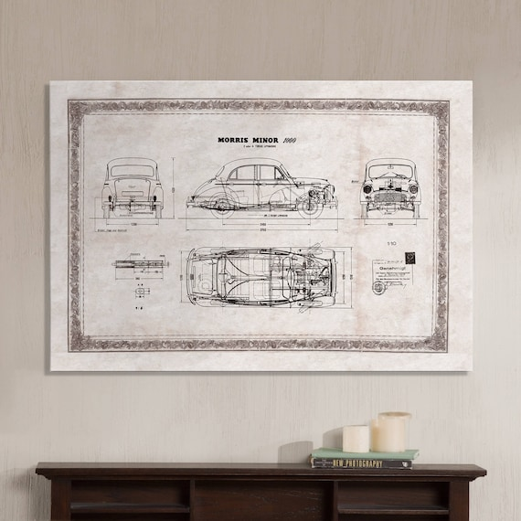 Morris minor 1000 old car technical drawing blueprint malvernweather Images