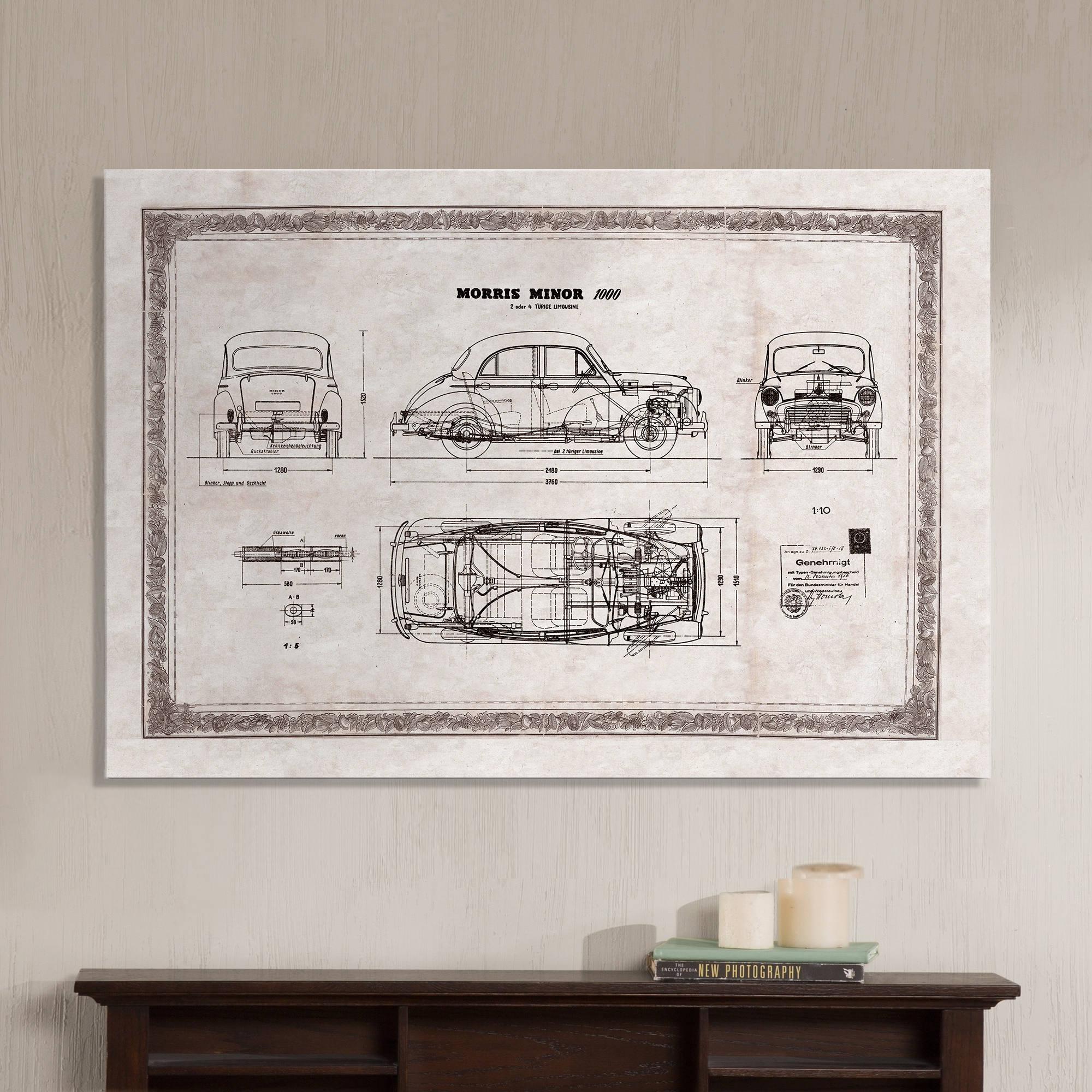 Morris Minor 1000 alte Auto technische Zeichnung Plan