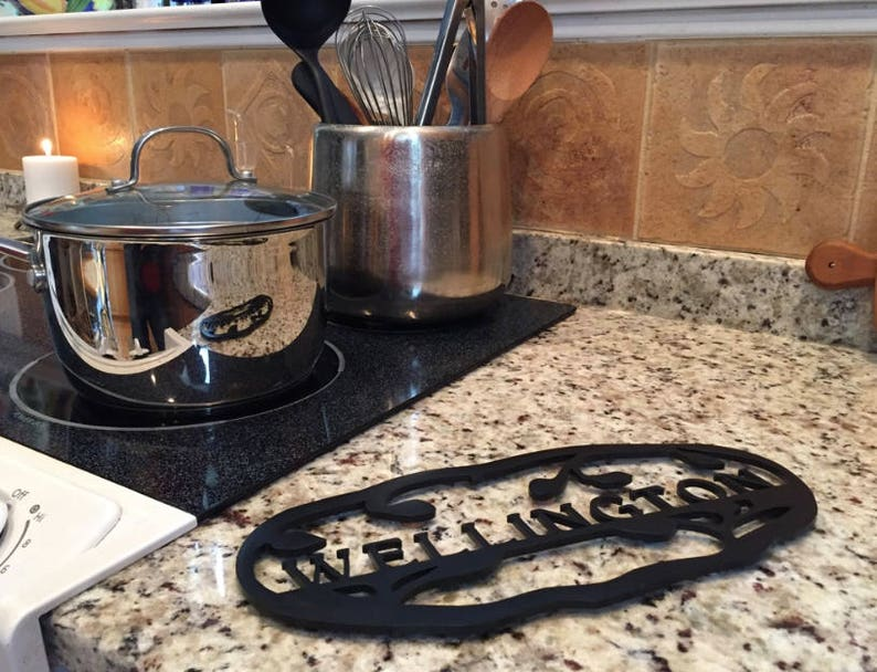 Custom American Steel with High Temp Resistant Black Finish Great Gift for Kitchen /& Cooking Enthusiasts! Personalized Vine Trivet