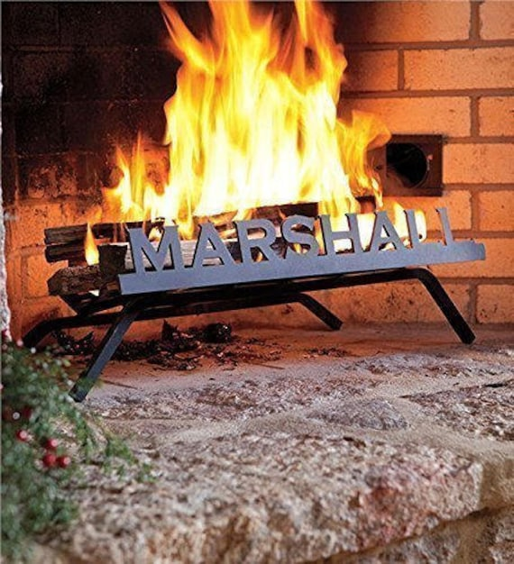 Personalized Fireplace Grate Block Font Custom American Etsy