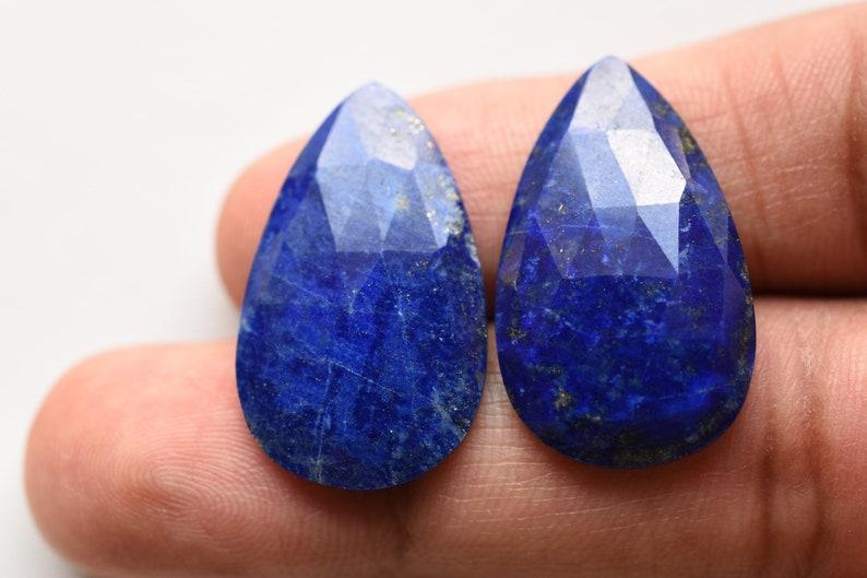 Rare Gemstone Genuine Blue Lapis Pair Of LAPIS LAZULI FACETED Cab Uneven Shape Flat Rose Cut 28x16.5 mm Natural Loose Gemstone Cabochon