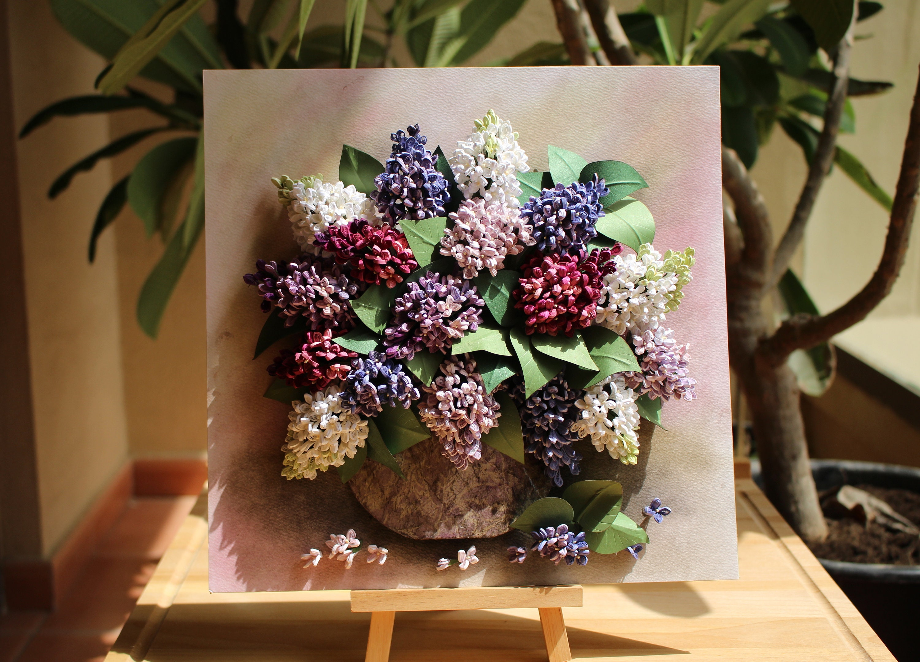 Bouquet Of Lilac Paper Quilling Flowers Wall Decor Lilac Bouquet 3d Lilac Flowers Artwork White Lilac Paper Flowers Quilling Art