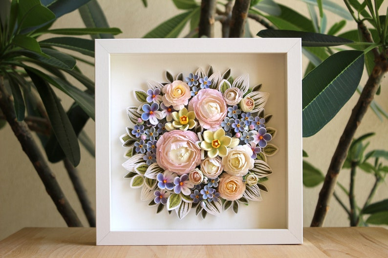 3d Paper Quilling Flowers Wall Decor Flower Arrangement With Summer Flowers Peony Forget Me Not Daffodils Violets Gift For Her