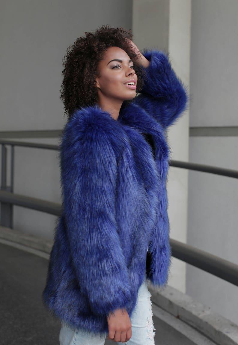 93cb44d11871 Blue faux fur coat