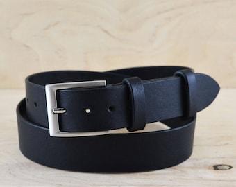 b2e8c4e8a Black dress belt Formal mens leather belt with silver buckle 1 3 8 wide     Full grain leather    Men dress belt    corporate gift