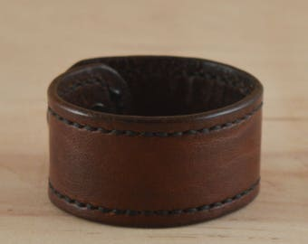 Stitched leather bracelet Brown stitch cuff personalized gift sown bracelet Full grain leather bracelet gift for him 1 1/8'' wide
