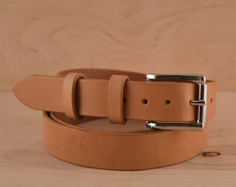 "Natural Leather Belt Men Full grain Leather belt Stainless Steel Buckle Silver buckle Vegetable Tanned leather belt women 1 1/4"" wide"