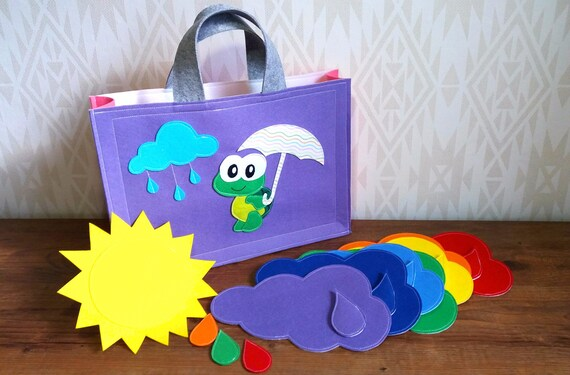 Rainbow Felt Clouds With Drops Set Of 7 Montessori Materials Etsy