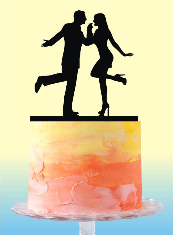 Dancing Couple Silhouette Wedding Cake Topper Unique Wedding
