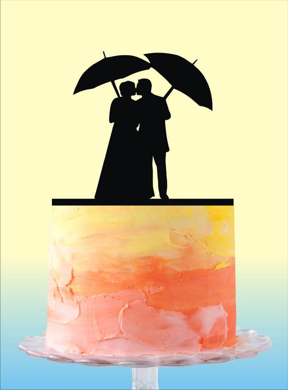 Couple Silhouette Wedding Cake Topper Couple with Umbrella | Etsy