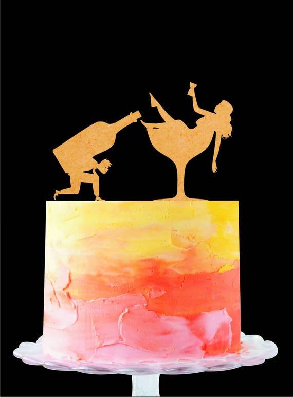 Drunk Wedding Cake Topper Drunk Couple Silhouette Cake | Etsy