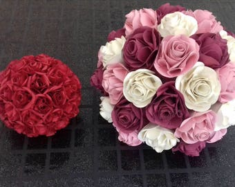 Bridal bouquet, alternative wedding Bouquets, Bouquet of Origami, paper flowers, wedding flowers, balls of roses