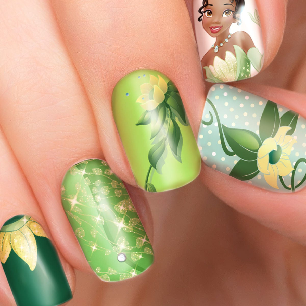 Disney Princess Tiana Waterfall Nail Art: Tiana Disney Nail Transfers Illustrated Nail Art Decals