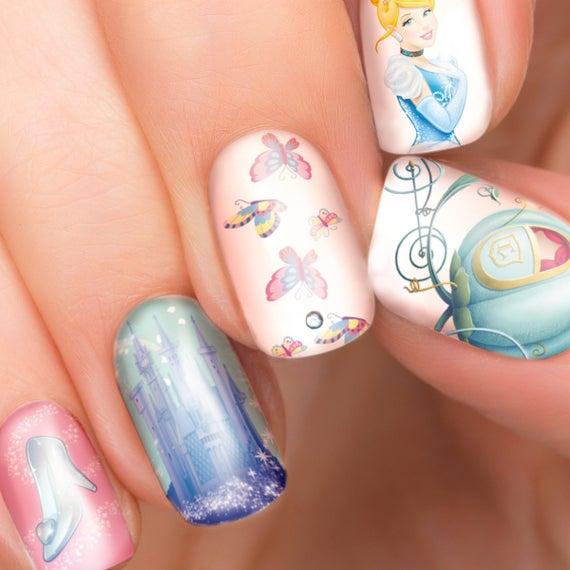 Cinderella Disney Nail Transfers Illustrated Nail Art Decals Etsy