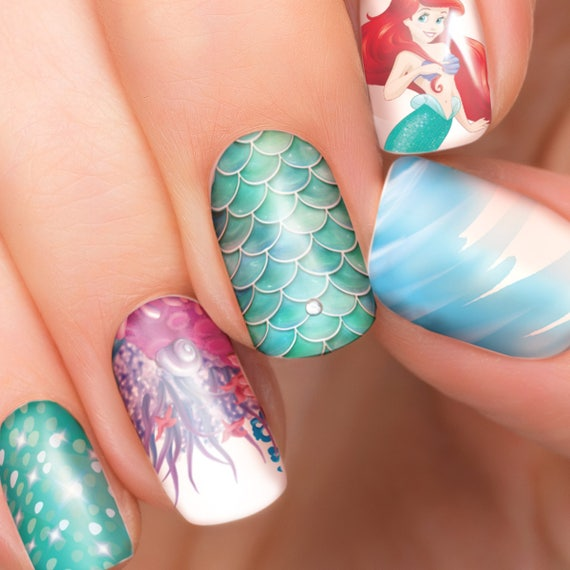 image 0 - Ariel Disney Nail Transfers Illustrated Nail Art Decals Etsy