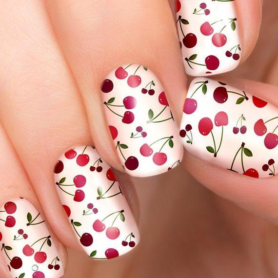 Summer Cherry nail transfers - illustrated nail art decals - Cherries,  Cherry - nail stickers - Summer Cherry Nail Transfers Illustrated Nail Art Decals Etsy