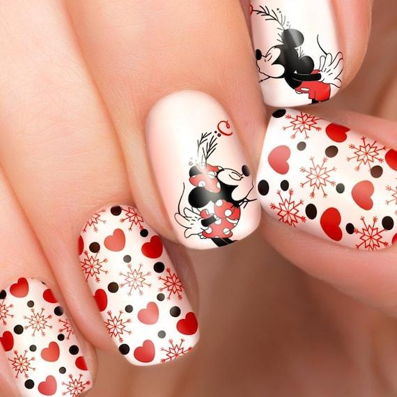 Besos Mickey Minnie Mouse Disney Uñas Transfers Ilustrados Etsy