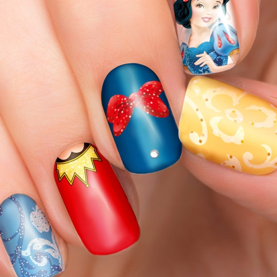 Snow White Disney Nail Transfers Illustrated Nail Art Decals Etsy