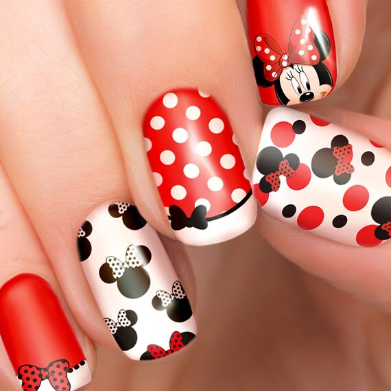 Minnie Mouse Nails: Minnie Mouse Disney Nail Transfers Illustrated Nail Art