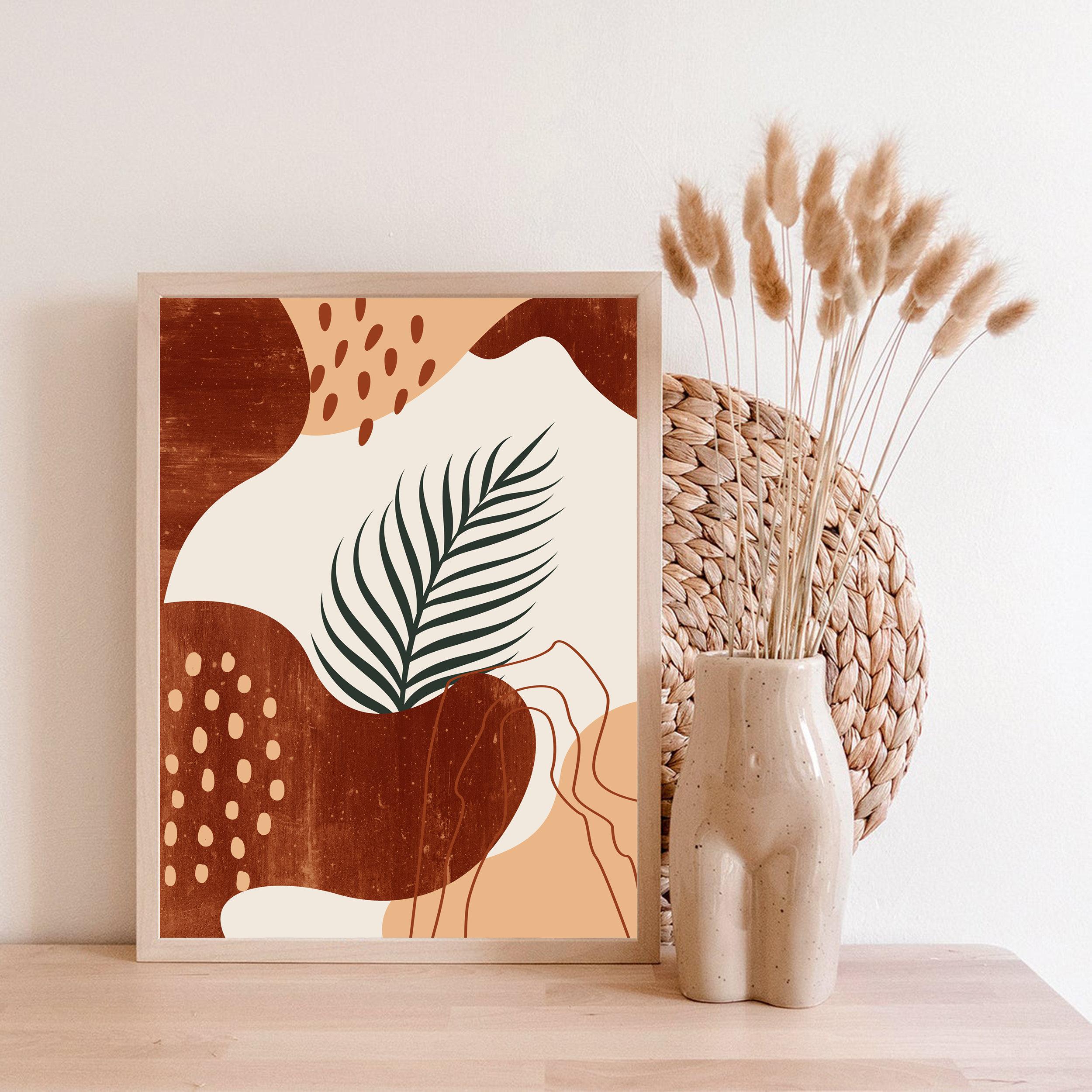 Abstract botanical wall art digital download file mid century modern boho  art, abstract shape home decor, printable art for living room