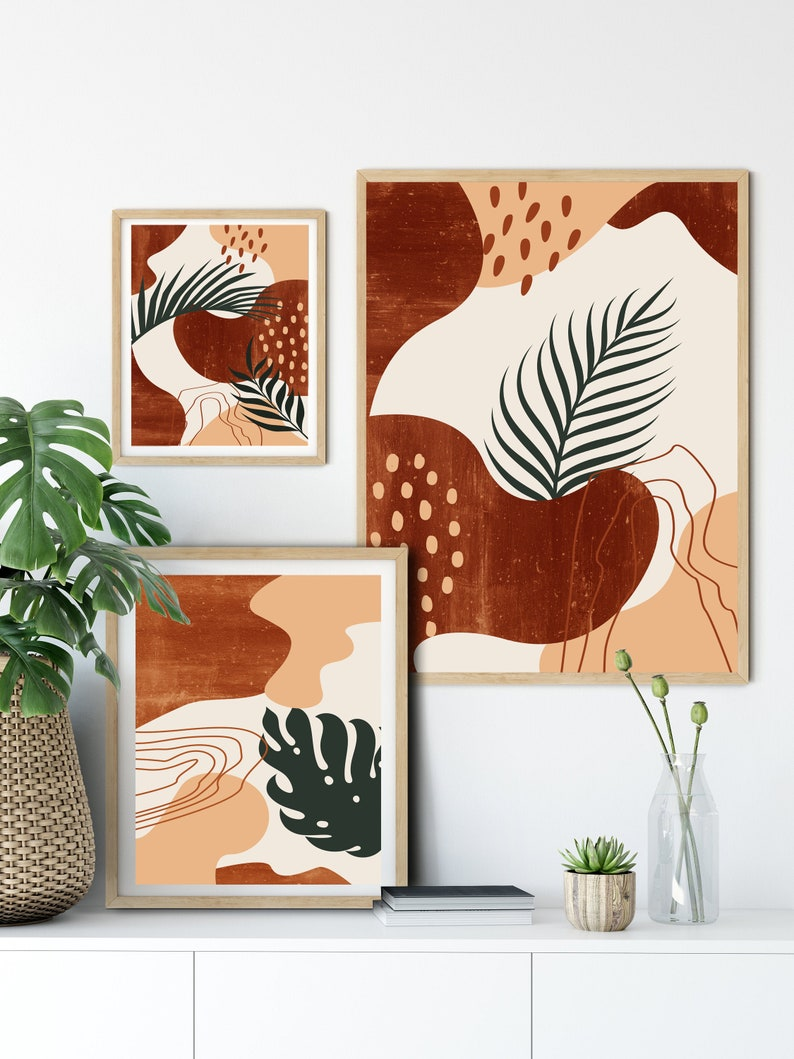 Set of 3 mid century modern art Abstract botanical leaves printable wall art terracotta art Burnt orange Boho decor Minimalist art leafs art
