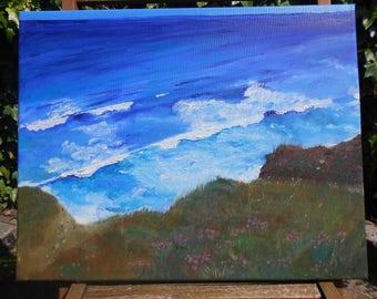 Original Oil Painting on Canvas- Porthtowan Cliff Cornwall