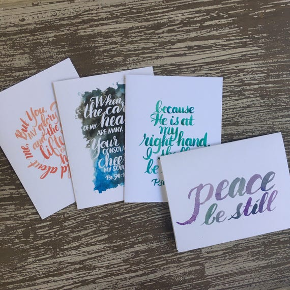 Set of 4 Encouragement Scripture cards ~ Peace Be Still and the Psalms