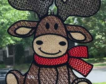 Free Standing Lace - A Finished Embroidery product, not a design file or pattern Jumping Reindeer Sun Catcher