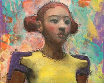 Sweet Strength is a mixed media mini painting