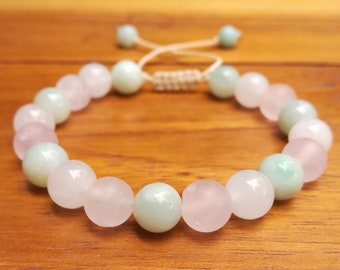 8mm,Stone bracelet for Women,Mala bracelet Women,Pastel gemstone bracelet,Beaded stone bracelet,Amazonite,White Jade, Frosted Rose quartz.