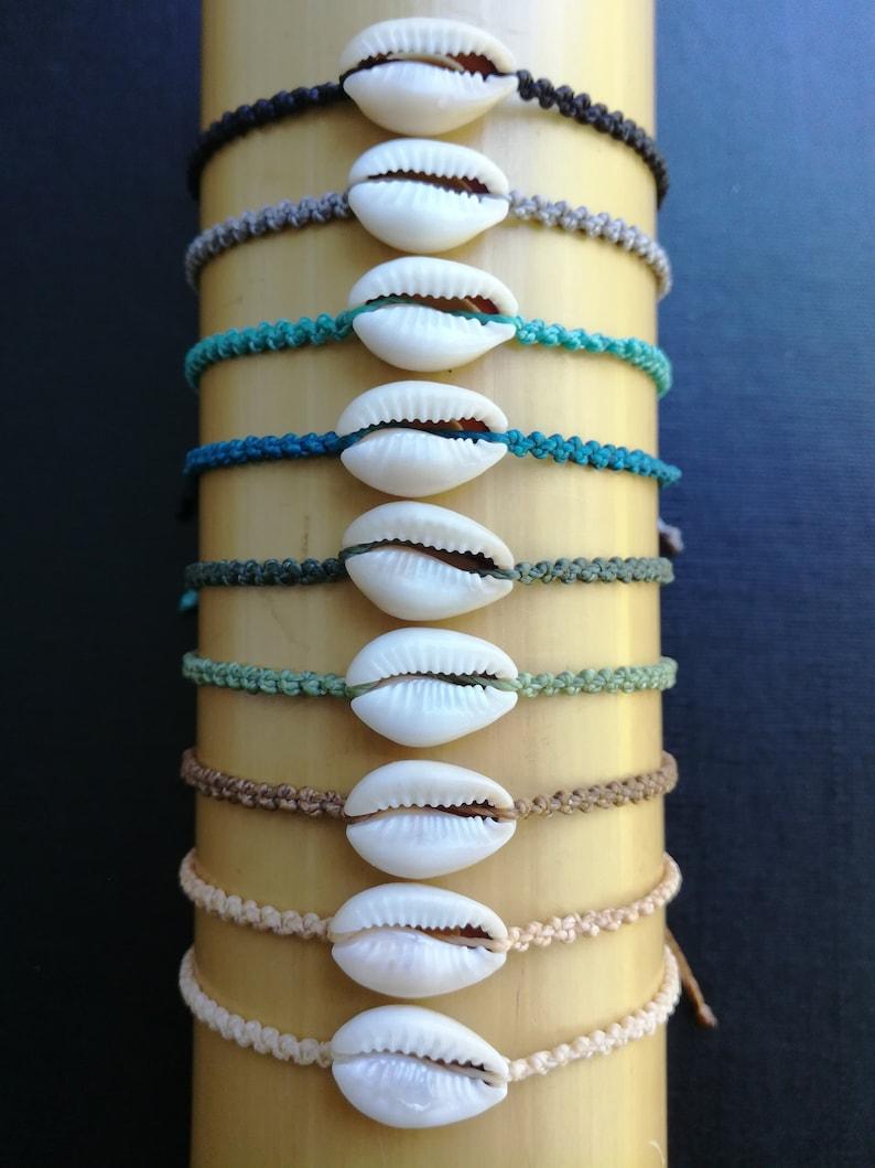 Pack of 9 shell bracelets,Cowrie shell bracelets,String bracelet,Surfer bracelet,Adjustable waterproof wax polyester string macrame bracelet