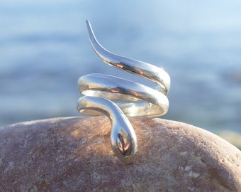 silver ring, sterling silver ring, adjustable silver ring, adjustable ring, snake, silver ring with snake, snake ring, snake silver ring
