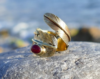 Brass feather ring/brass ring