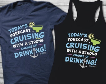 Cruise Shirts, Mens Tank, Cruise Tank top, funny tee, Cruise Drinking, Cruise funny, Oh Ship, Cruising With Strong Chance of Drinking