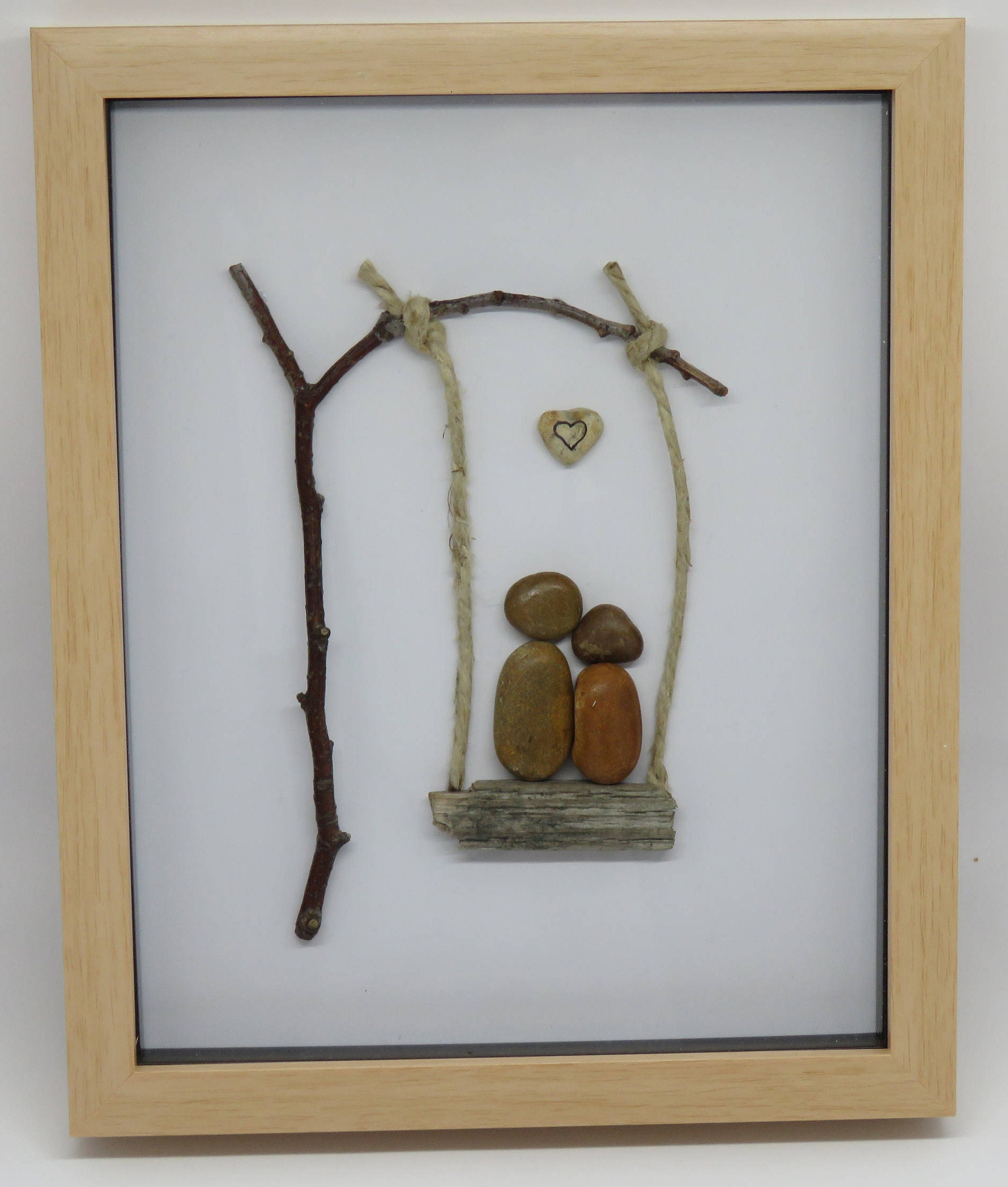 Couple on swing Pebble Art in light brown box frame - cute unique ...