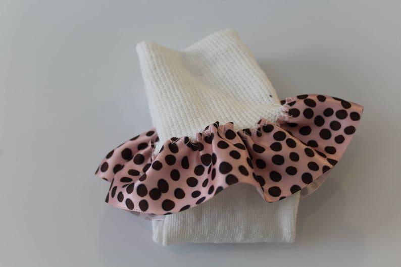 Satin Polka Dots Pink n Brown Girls/' Ruffled Sock