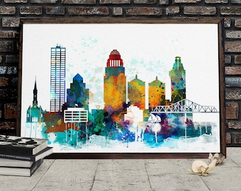 Watercolor Louisville Skyline, Louisville Printable Cityscape, Kentucky Poster, Printable wall art, Digital Download, File for print