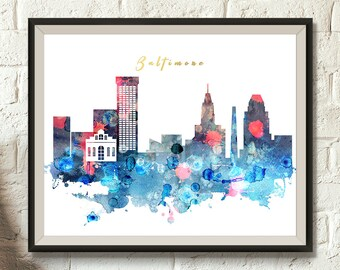Baltimore Watercolor Decor, Downloadable Watercolor City Art, Maryland Cityscape, Home and Office decor, Skyline Digital Download