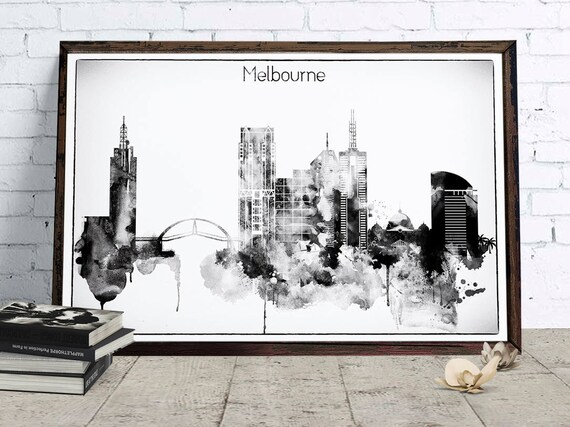 Melbourne Black White Decor Melbourne cityscape Downloadable | Etsy
