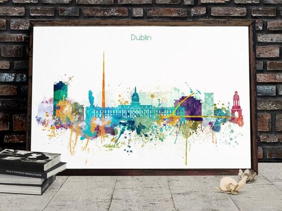 Dublin Art Print Dublin Watercolor Dublin Poster Dublin Art Dublin Print Dublin Skyline Dublin Wall Art Dublin Ireland Dublin Map