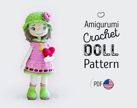 Crochet doll PATTERN in ENGLISH, stuffed doll pattern, amigurumi tutorial, amigurumi doll pattern pdf