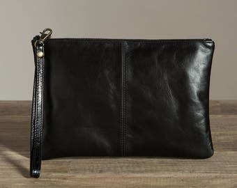 Monogrammed Black Leather Clutch bag. Stamped Leather Anniversary. Third Anniversary gift for her. 3rd anniversary gift. Leather handbag.
